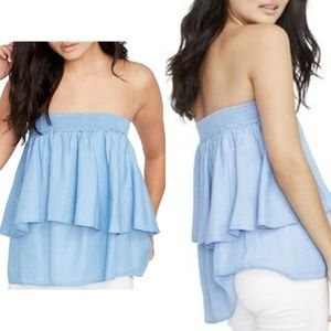 Rachel Roy Chambray Strapless Tiered Top NWT